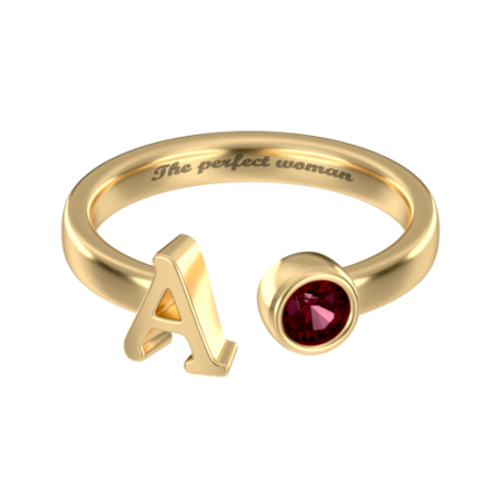 Custom Initial Ring with Birthstone A