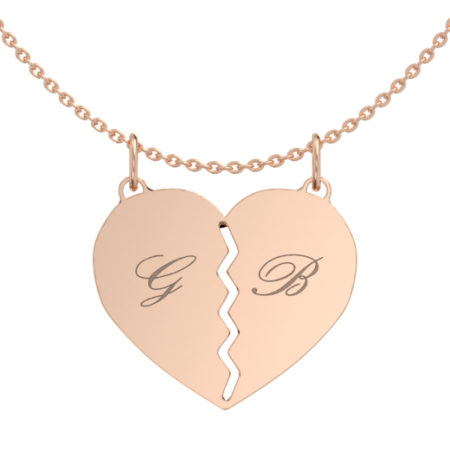 Breakable Heart Necklace with Initials