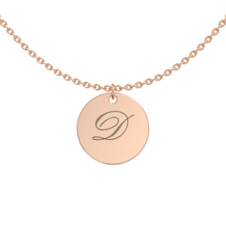 Small Initial Disc Necklace