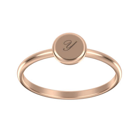 Round initial Small Coin Ring