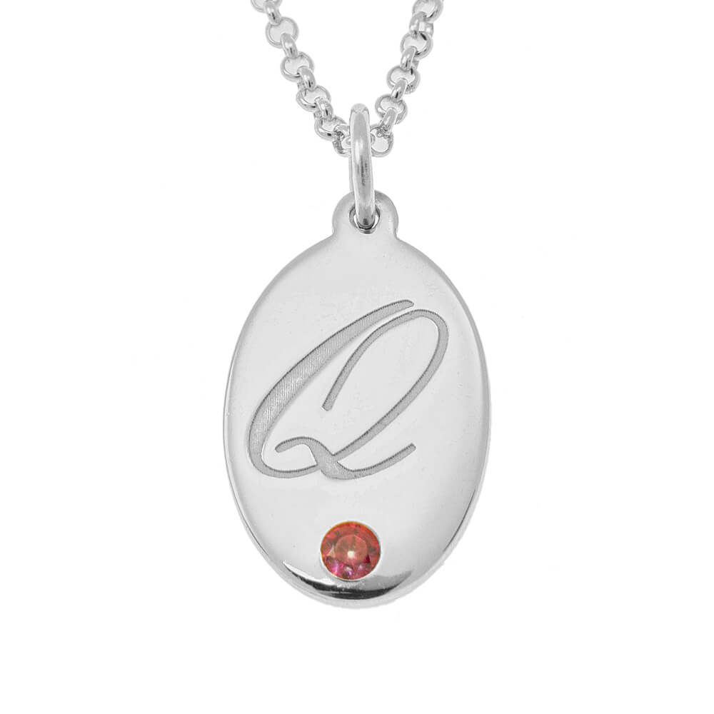 Oval Necklace with Birthstone silver