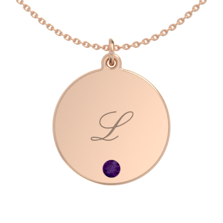 Engraved Disc Name Necklace with Birthstone