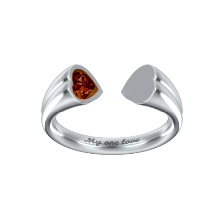 Heart to Heart Ring with Birthstone