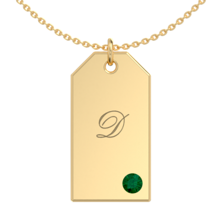 Tag Initial Necklace with Birthstone