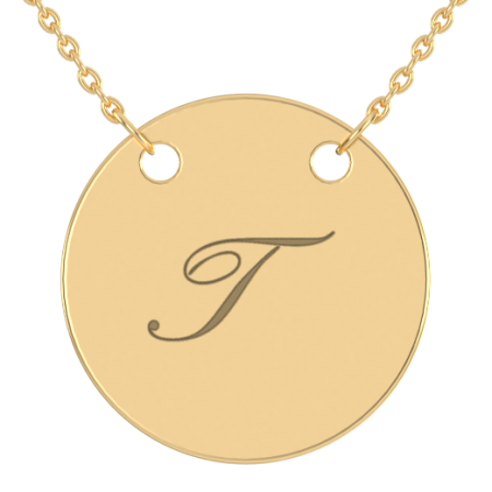 Engraved Initial Disc Necklace