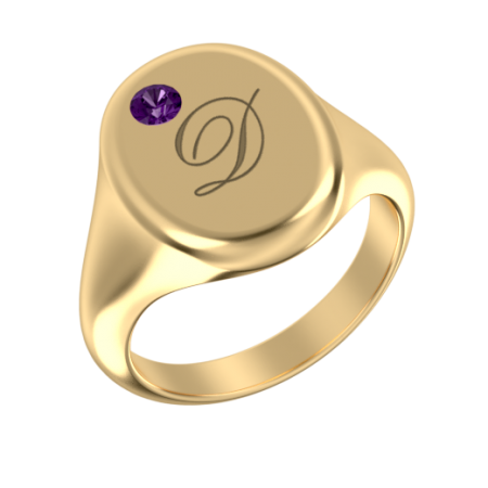 Oval Signet Initial Ring with Birthstone