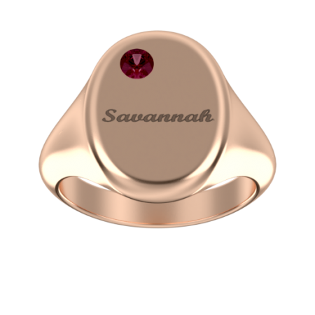 Oval Signet Name Ring with Birthstone