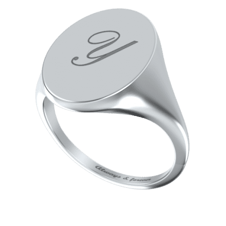 Oval Signet Initial Ring