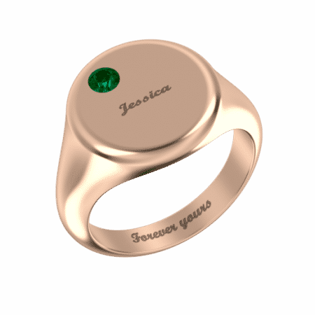 Round Signet Name Ring with Birthstone