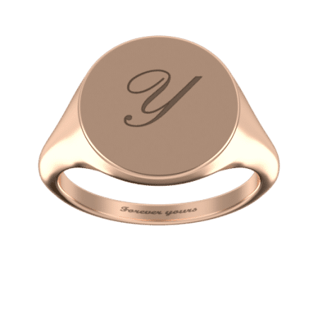 Round Signet Ring with Initial
