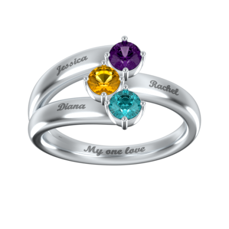 Mother Ring with 3 Birthstones