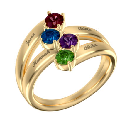 Mother Name Ring with 4 Birthstones