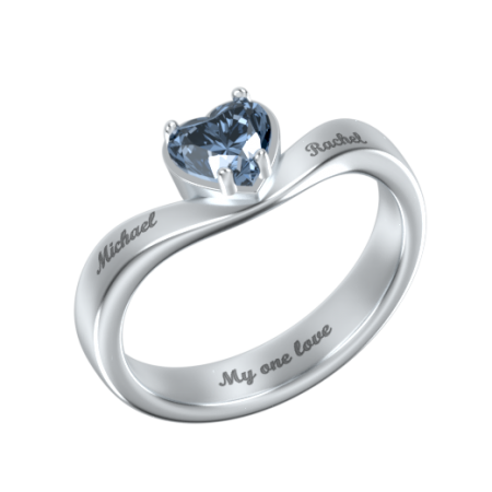Big Heart Ring with Birthstone