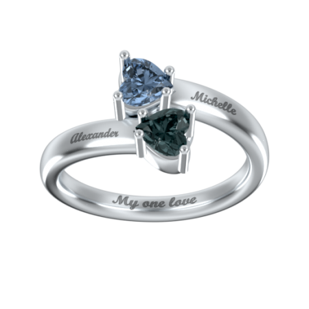 Double Heart Promise Ring with Birthstone