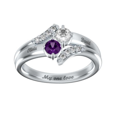 Double Birthstone Inlay Ring