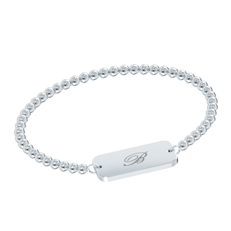 Stretch Bead Bar 1 initial Bracelet