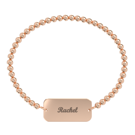 Stretch Bead Bar Name Bracelet