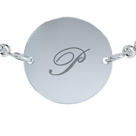 Stretch Bead Disc Initial Bracelet