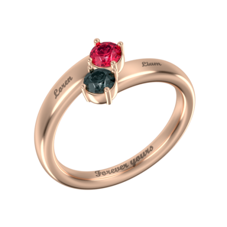 Mother Ring with 2 Birthstones