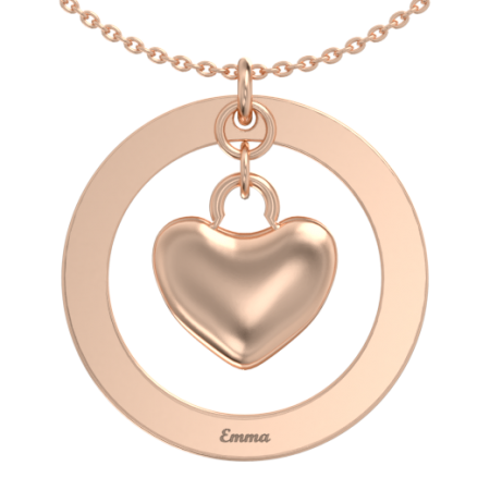 Round Name Necklace With Heart Pendant