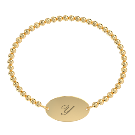 Oval 1 Initial Stretch Bead Bracelet
