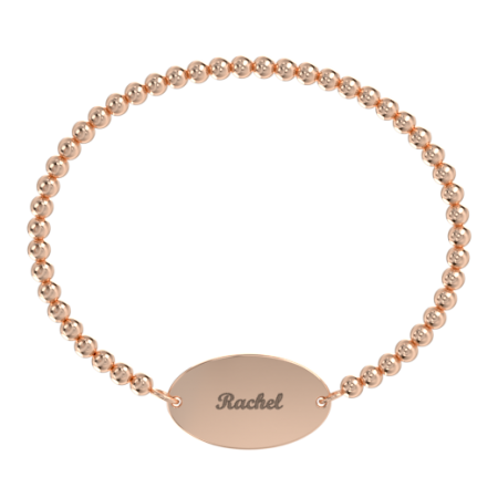 Oval Stretch Bead Name Bracelet