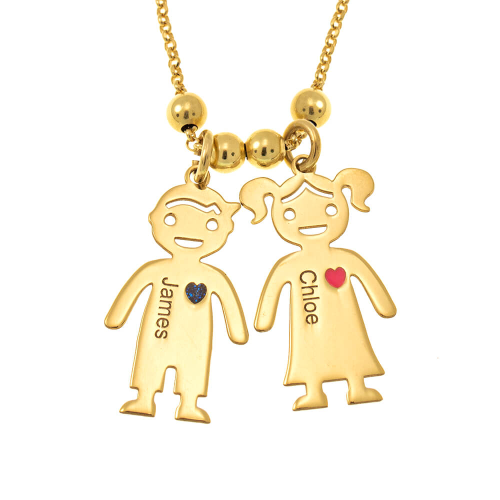 Mother's Necklace With Engraved Children Charms gold