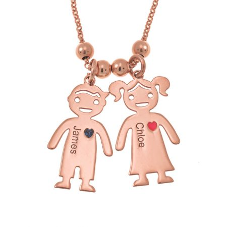 Mother's Necklace with Engraved Children Charms