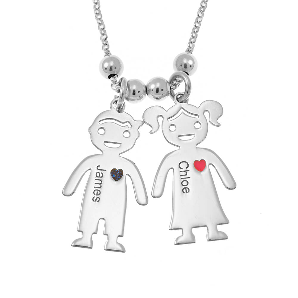 Mother's Necklace With Engraved Children Charms silver