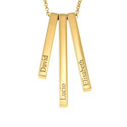 3D Vertical Bar Name Necklace gold