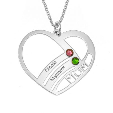 Mum Heart Necklace with Birthstones
