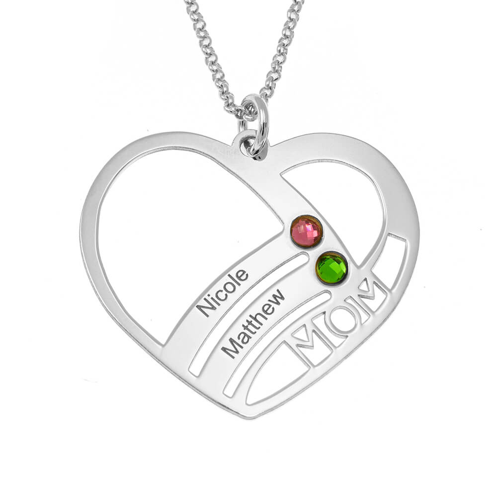 Mum Heart Necklace With Birthstones silver