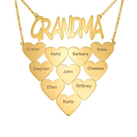 Grandma Engraved Necklace with Hearts