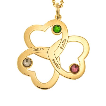 Intertwined 3 Hearts Name Necklace with Birthstones