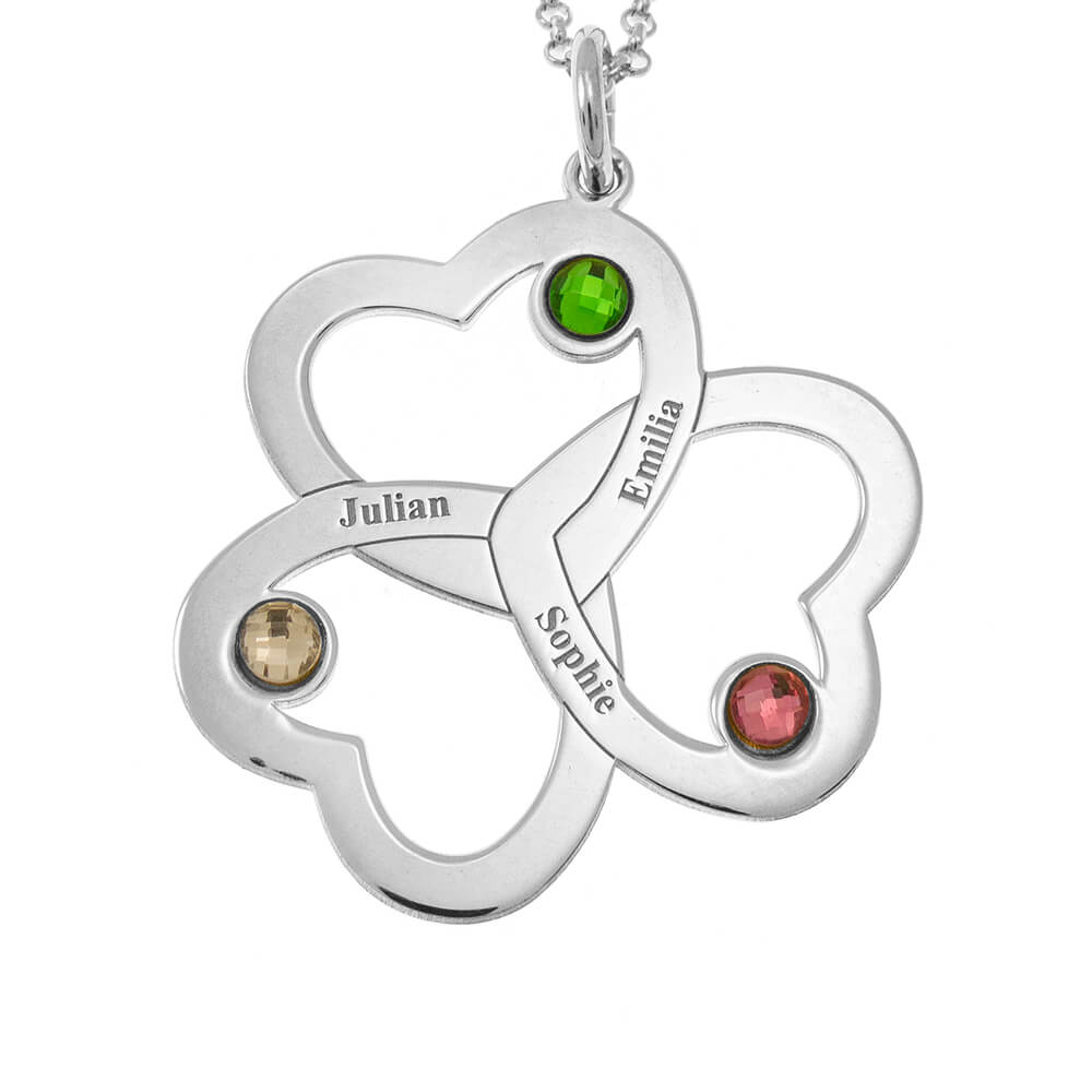 Interwired Hearts Name Necklace With Birthstones silver