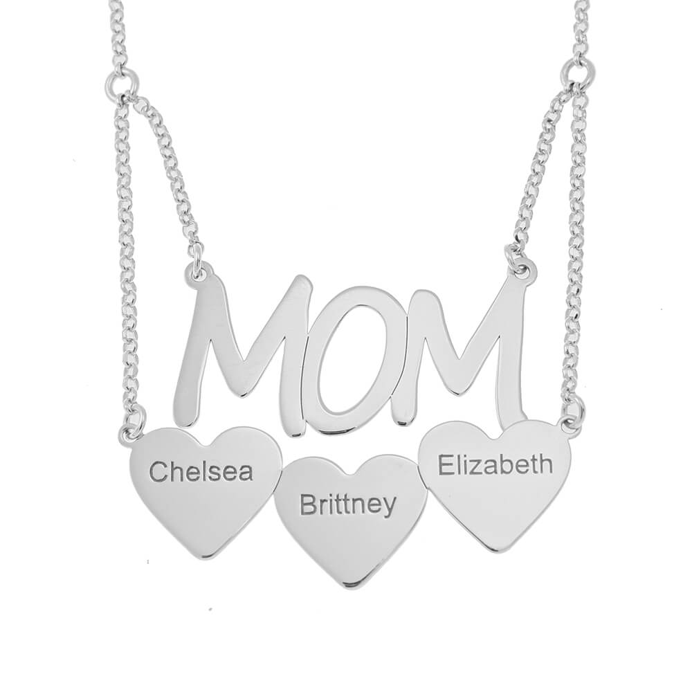 Mum Necklace With Hearts silver