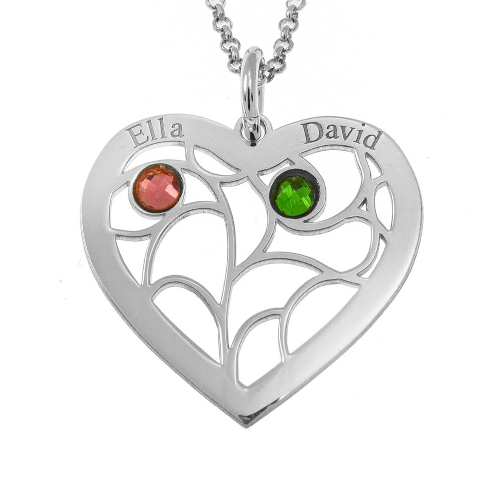 Tree of Life Necklace with Birthstones silver