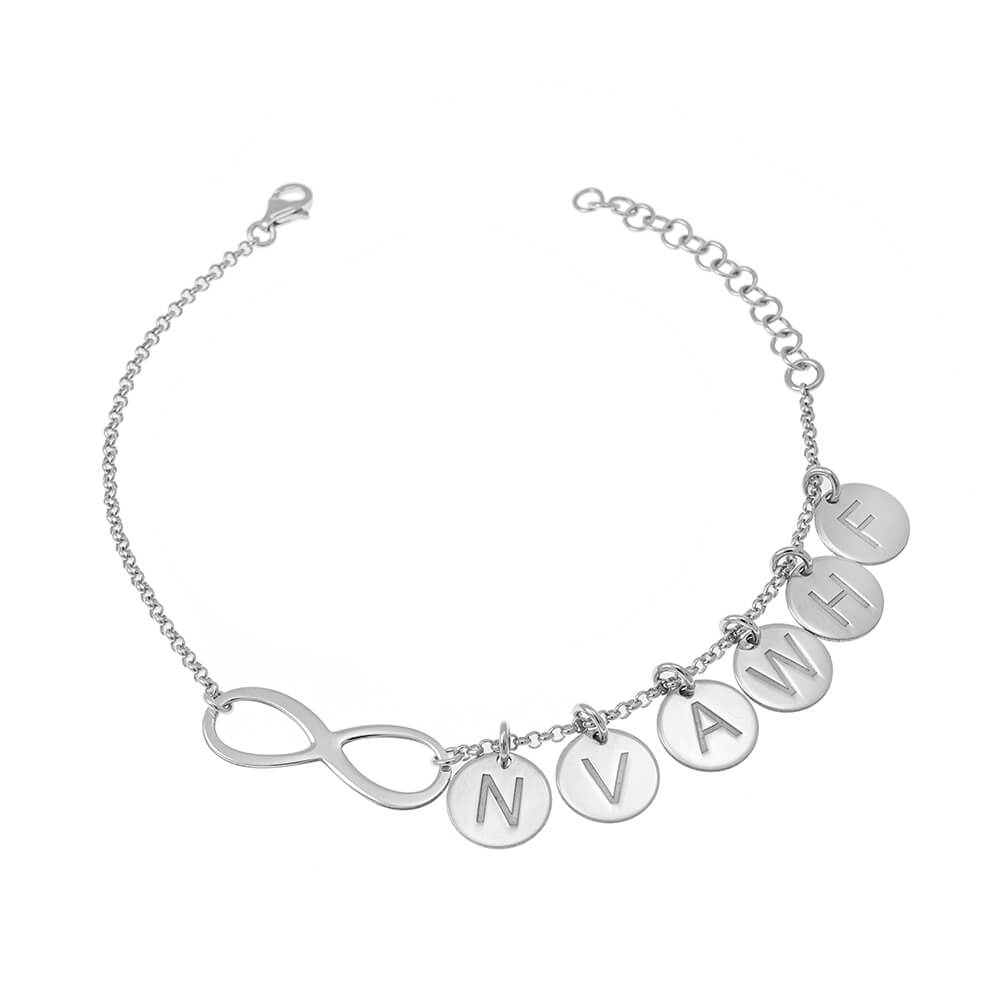 Infinity Friendship Bracelet With Discs silver
