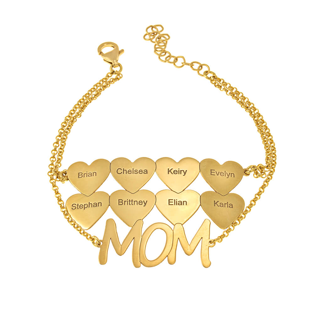 Mum Bracelet With Hearts gold