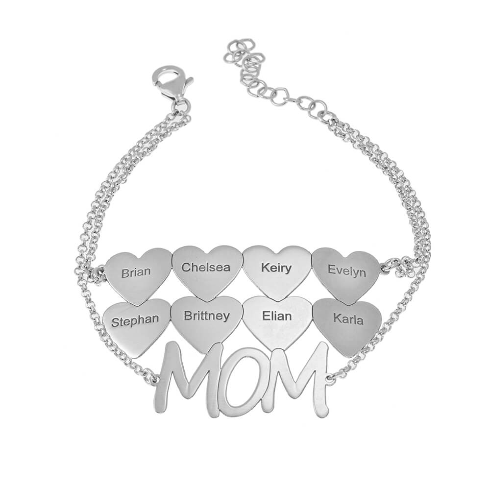 Mum Bracelet With Hearts silver
