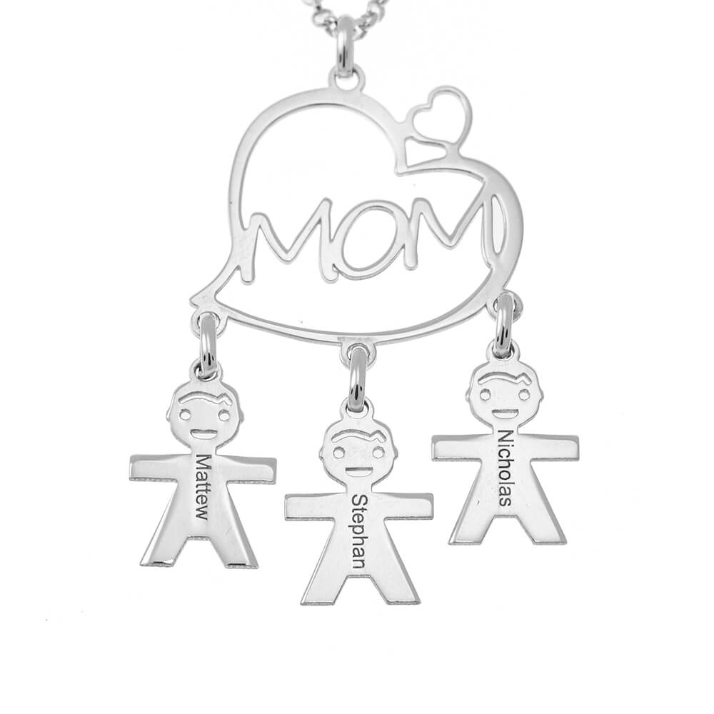 Mother's Heart Necklace silver