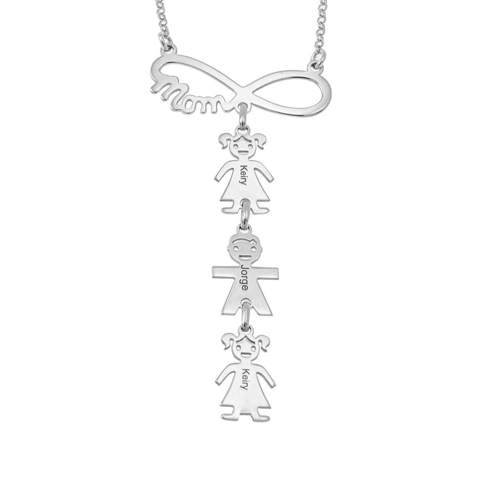 Vertical Infinity Mum Necklace silver