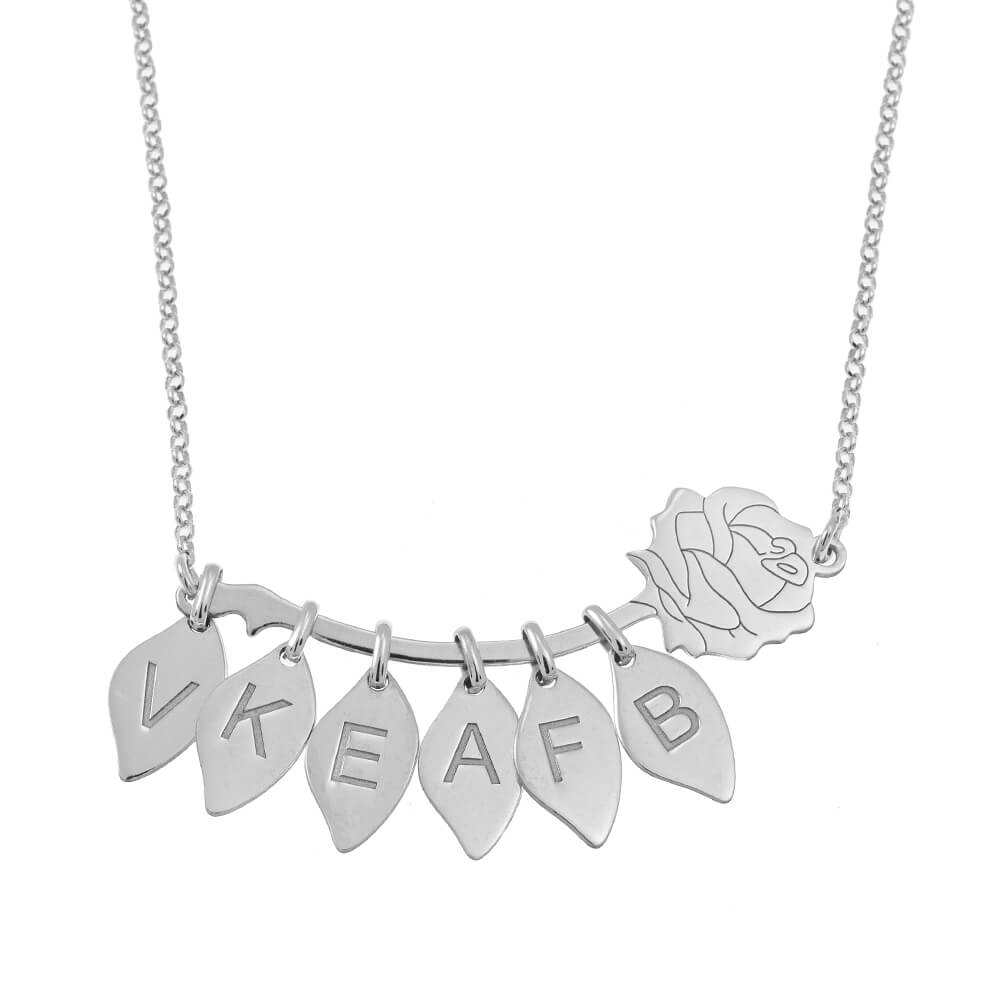 Rose Necklace With Leaves silver