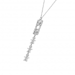 Swarovsky Inlay Vertical Mum Necklace with Kids Silver