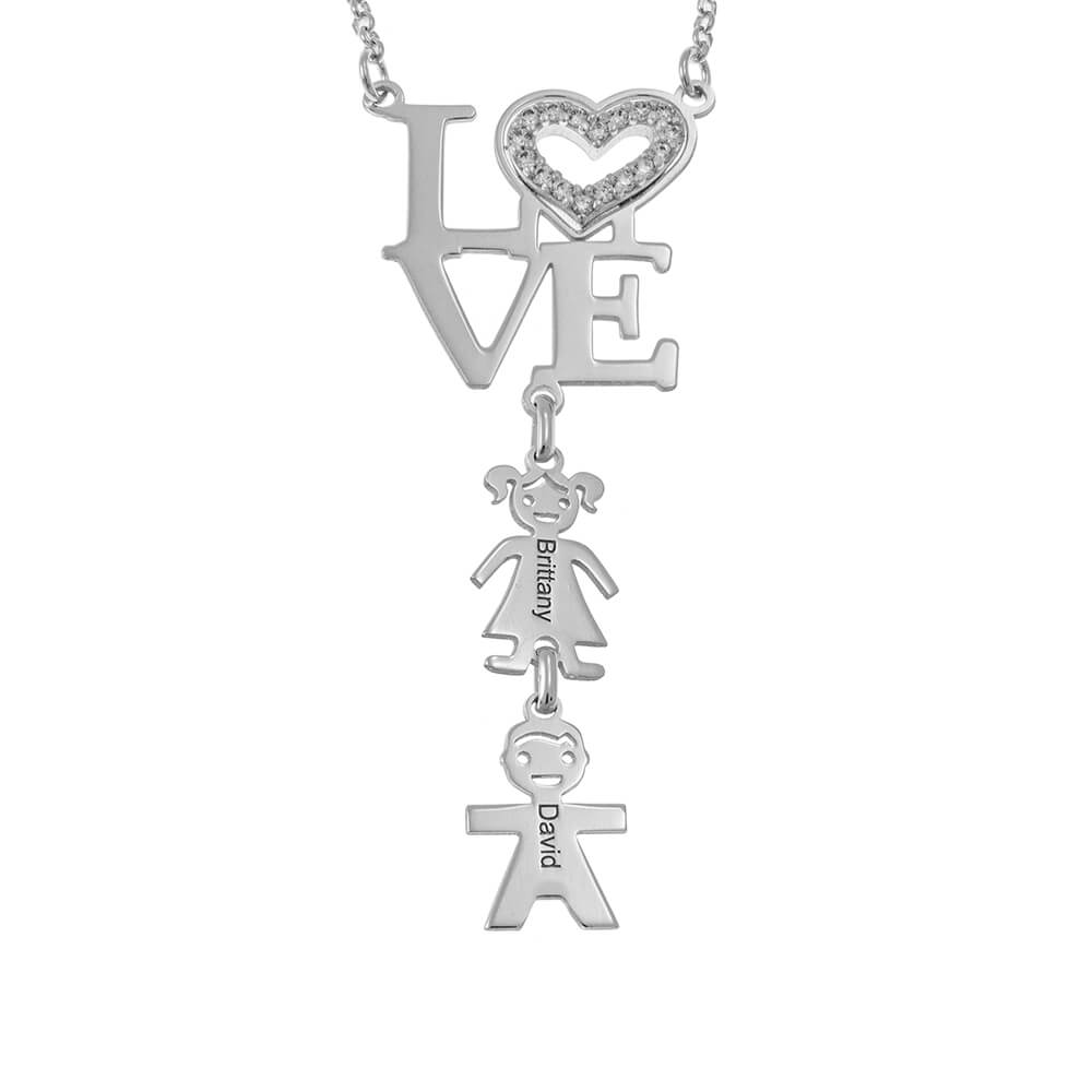 LOVE Mum Necklace with Kids silver