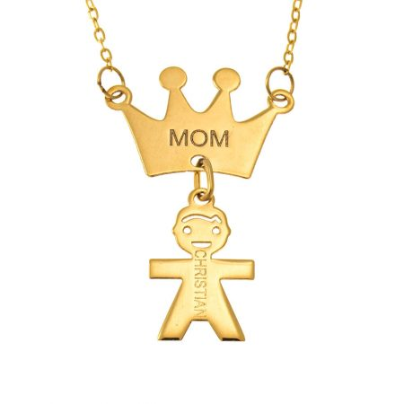 Queen Crown Mum Necklace with Kids