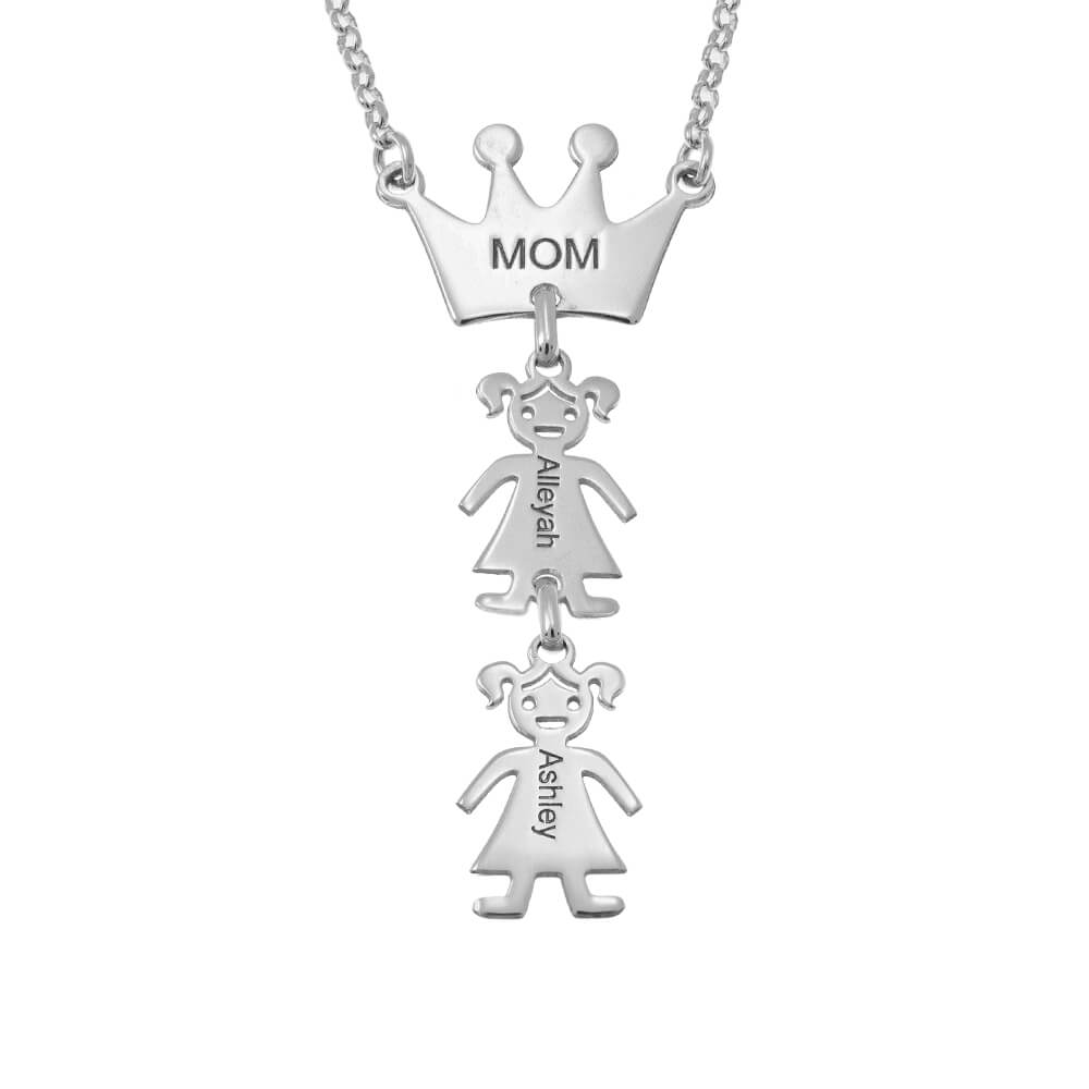 Queen Crown Mum Necklace With Kids silver