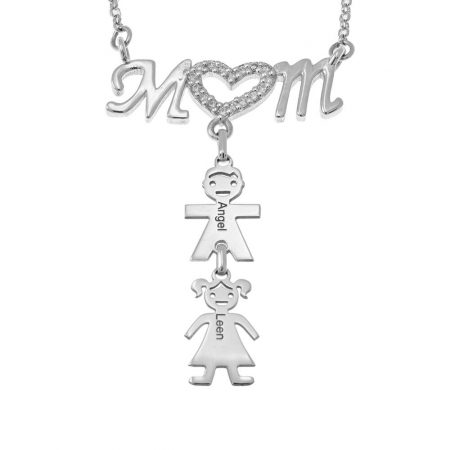 Swarovski Inlay Mum Necklace With Kids