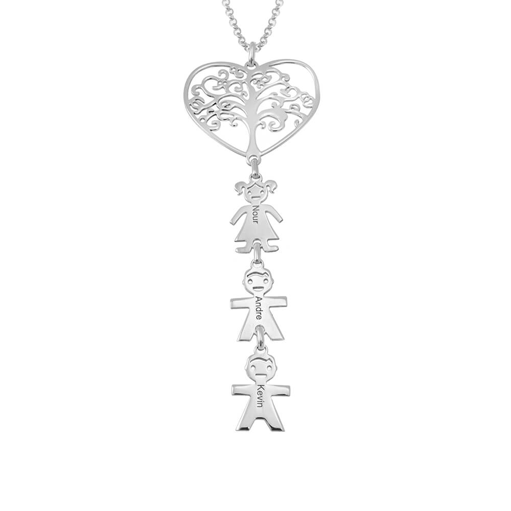 Tree Heart Necklace With Kids silver
