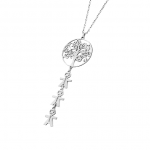 Vertical Tree Of Life Necklace With Kids Silver